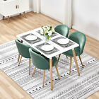 Modern Kitchen Table and 4 Dining Chairs Wood Top Velvet Padded Seat Office Desk