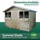 SUMMER SHED GARDEN SHED SUMMER HOUSE WITH +1FT OVERHANG QUALITY WOODEN TIMBER