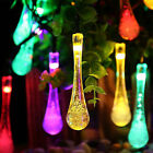 20 LED Raindrop Teardrop Solar Powered String Fairy Lights Outdoor Garden Party