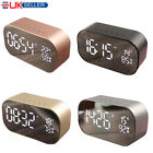 Wireless Bluetooth Speaker MP3 Digital FM Radio Mirror LED Alarm Clock AUX IN UK