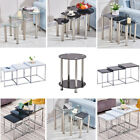 Nest Of 3 Coffee Tables Side End High Gloss Nested tables Glass/Wood Black/White