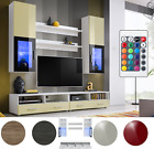 Wall Display Cabinet Unit Glass Shelves Cupboard Storage Living Room LED White