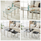 Nest of 3 Coffee Tables Square Clear Black Glass Side End Tables Metal Legs