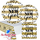 GOLDEN NEW YEAR TABLEWARE Striped New Years Eve Party Napkins Plates Table Cover
