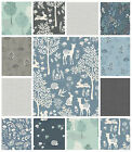 WOODLAND FABRIC by MAKOWER - QUILTING CRAFT FABRIC RABBITS DEERS TREES LEAVES