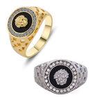 UK Mens 18k gold plated iced out created diamonds gold greek medusa hip hop ring