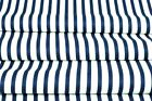 LOVELY, navy blue and white stripes 6mm  100%COTTON fabric 160cm wide