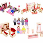Kid Pink Wooden Furniture Dolls House Miniature 6 Room Set Doll For Xmas Gift LK