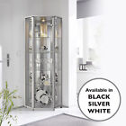 HOME Corner Glass Display Cabinet White Black Silver Glass Shelves Mirror Back