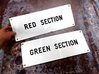 Pair of Vintage Enamel Signs - Red & Green Sections
