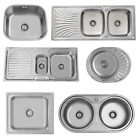 ENKI Single Double 1.5 Bowl Reversible Stainless Steel Kitchen Sink Plumbing Kit