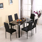 Modern Stunning Black Glass Dining Table and 4/6 Chairs Set Dining Kitchen Room