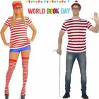 Mens & Womes Licensed Wheres Wally Fancy Dress Kit Where s Wally Set size S-XXL