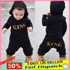 "Newborn Baby Kids Boy s ""KING"" Hooded Romper Bodysuit Jumpsuit Clothes Outfits"