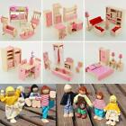 Wooden Dolls House Furniture Miniature 6 Room For Kids Children Toy Gifts Hot TR