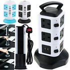 UK Extension Lead Cable Surge Protected Tower Power Socket + USB Port UK Plug 3M