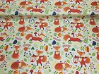 NEW! PolyCotton Fabric Woodland Animals Foxes  METRE Reduced Prices Material