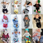 UK Newborn Baby Boy Girls Tops Romper Bodysuit T-shirt Long Pants Outfit Clothes