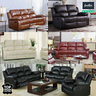 REAL GENUINE LEATHER RECLINER SOFA SUITE NEW BLACK BROWN CREAM SOFAS 3 PIECE