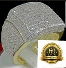 BIG BOLD ICED OUT MENS NEW YELLOW GOLD FINISH SILVER PINKY RING BAND FULL STONE
