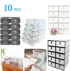 10x Plastic Shoe Storage Boxes Drawer Stackable Foldable Organiser Clear / Black
