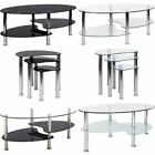 Cara Coffee Table Nest of Tables Glass Stainless Steel Living Room Furniture