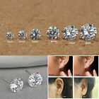 925 SOLID STERLING SILVER WOMEN MEN GENUINE CUBIC ZIRCONIA ROUND STUD EARRINGS