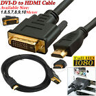 HDMI to DVI-D 24+1 Pin Lead Digital Video Cable For PC Screen HDTV Projectors UK
