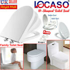 D Shape Toilet Seat White Family Child Friendly Soft Close & Top Fixing Hinges