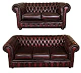 Chesterfield 100% Genuine Leather Antique Oxblood Red 3+2 Seater Sofa Suite
