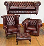 Chesterfield four piece suite in top quality antique Oxblood leather